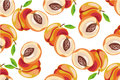 Peach seamless pattern on white background