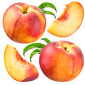 Peach and slice isolated collection on white background Stock Image