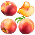 Peach and slice isolated on white background Stock Photos