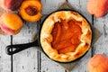 Peach Tart In Cast Iron Skille...