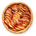 Peach tart isolated on white Stock Photos