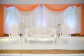 Peach themed wedding stage Royalty Free Stock Photo