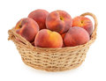 Peaches in basket isolated Royalty Free Stock Photo