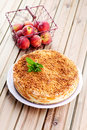 Peaches cheesecake with fresh fruits sweet food Stock Photography