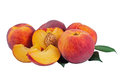Peaches five with photo of ripe on a white background Royalty Free Stock Photography