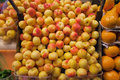 Peaches stall fruits in food market Royalty Free Stock Photo