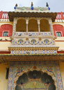 Peacock balcony and door of city palace jaipur rajasthan Stock Photos