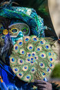 Peacock fan schwaebisch hall germany february man dressed up in a venetian style costume holding a made of feather attends the Royalty Free Stock Photo