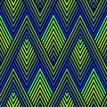 Peacock feather ornament. Vector seamless pattern with colorful zigzag lines, stripes, halftone rhombuses, chevron.