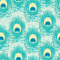 Peacock feathers vector seamless pattern Royalty Free Stock Photo