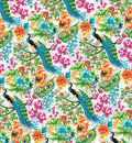 Peacock seamless tropical pattern with peacocks and flowers Royalty Free Stock Image