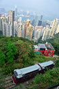 Peak tram hong kong tourist climbing up the mountain top with the background of the downtown of Stock Image