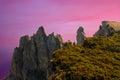 Peaks of Ai-Petri mountain at Black Sea shore Stock Photos