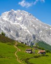 The peaks of Europe in which you can see some mountain shelters Royalty Free Stock Photo
