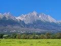Peaks of High Tatras and meadow