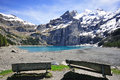 Peaks and lake in alps oeschinensee landscape bern Stock Image