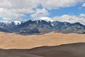 Peaks and sand dunes early summer snow capped mountain range sangre de cristo mount herard center ft are surrounded by the sea of Stock Photos