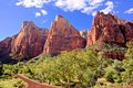 Peaks of zion national park usa the court the patriarchs Stock Photography