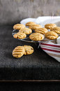 Peanut butter and chocolate chip cookies on a cooling rack Royalty Free Stock Photo