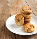 Peanut butter and chocolate chip cookies Royalty Free Stock Photo