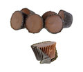 Peanut butter cups group single front a of wrapped with a partially wrapped candy in Stock Photos