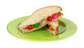 Peanut butter and jelly bean sandwich on plate a with beans cut in half a green Royalty Free Stock Image