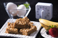 Peanut butter marshmallow squares eggs timer fruits this delicious breakfast or desert is perfect for anyone with a sugar tooth Stock Images