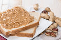 Peanut butter sandwich fresh made Stock Photos