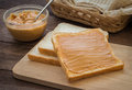 Peanut butter sandwich on wooden plate Royalty Free Stock Photo