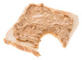 Peanut butter on white sandwich isolated Stock Photo