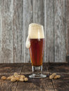 Peanuts and foaming beer. Royalty Free Stock Photo