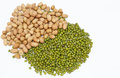 Peanuts and green mung beans and white background on Royalty Free Stock Photos