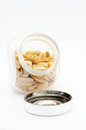Peanuts in jar with cover Royalty Free Stock Photo