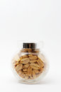 Peanuts in jar with cover Stock Images