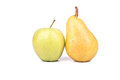 Pear and apple fruits yellow green on a white background Royalty Free Stock Images