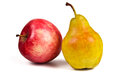 Pear and apple red yellow ripe on a white background Royalty Free Stock Image