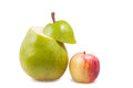 Pear and apple on a white background Royalty Free Stock Photo
