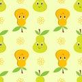 Pear cartoon seamless pattern