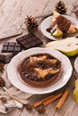 Pear and chocolate tart. Royalty Free Stock Photo