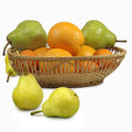 Pear and citrus isolate image of pears tangerines on a white background Royalty Free Stock Image
