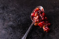 Pear cranberry relish in spoon over dark background copy space selective focus Royalty Free Stock Photo