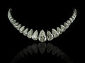 Pear diamonds necklace a magnificent on black background with reflection Stock Photography