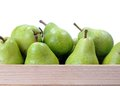 Pear full case of on white background Royalty Free Stock Image