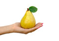 Pear in a hand Royalty Free Stock Photo