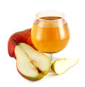 Pear juice with colorful pears Royalty Free Stock Image