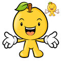 The pear mascot has been welcomed with both hands fruit charact character design series Stock Image