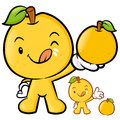 Pear mascot the right hand is holding a big fruit fruit character design series Stock Photos