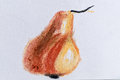 Pear with pastel pencils