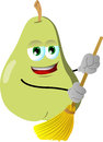 Pear sweeping with broom