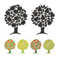Pear tree and apple tree vector illustration signs symbols Royalty Free Stock Photography